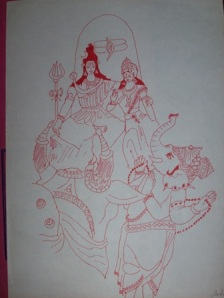 Ganesh was required to go around the World. He went around his parents - Lord Shiva and Parvati