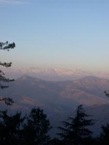 Sunset lightening the snowy mountains