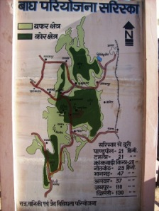 A map of Sariska Forest, Alwar. Dark Green depicts the core area, while the lighter green depicts the buffer area, where tourists are ferried.